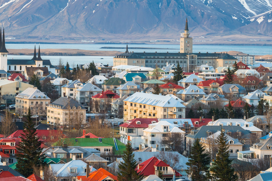 Iceland Mountain City View