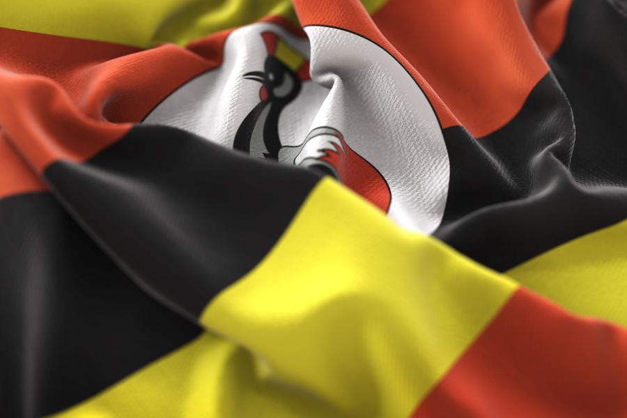 Uganda Bunched Up Flag