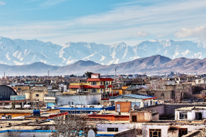 Afghanistan City with Mountain Background
