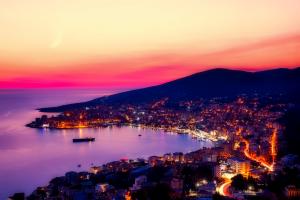 Albania Nightime City Ocean View