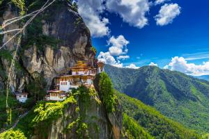 Bhutan Building Over Mountain