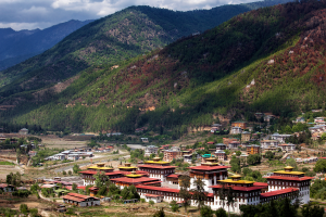 Bhutan City Over Mountains