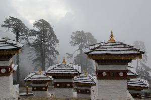 Bhutan Snowy Building Tops