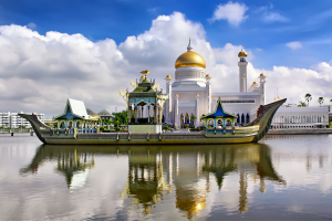 Brunei Boat with Building Background