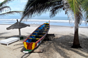 Gambia Boat with Ocean Background