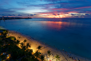 Guam Ocean with Beach and Palm Trees