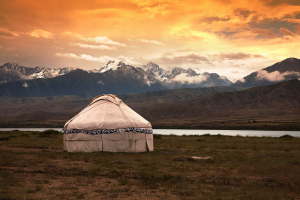 Kyrgyzstan Hut and Mountain View