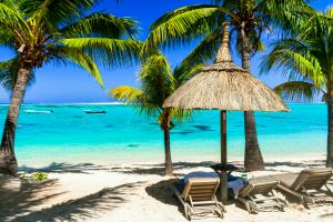 Mauritius Beach View with Beach Chairs