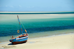 Mozambique Boat in Front of Ocean