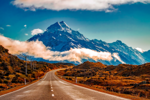 New Zealand Mountain with Road View