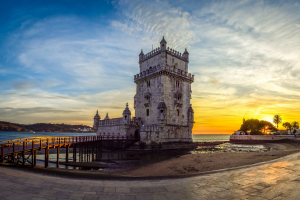 Portugal Castle with Water Background