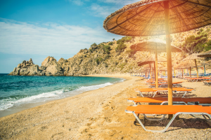 Tunisia Beach View with Chairs