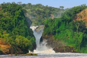 Uganda Watefall with Mountains
