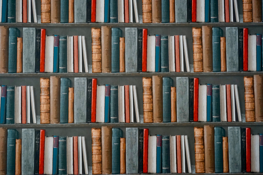 Bookshelf Stacked with Books