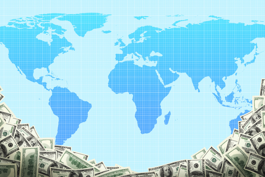Multinational Map with Money Border